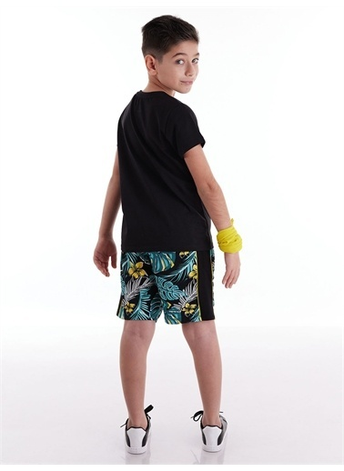 Mushi Vosvos Hawai Erkek Çocuk Şort Takım Siyah